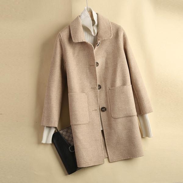 Cappotto in cashmere double face femminile autunno e inverno versione coreana high-end lunga del colletto di lana auto-coltivazione cappotto di lana cammello