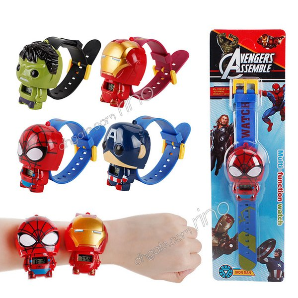 best selling The Avengers Cartoon Children's Watches Marvel Iron Man Captain America Spiderman Hulk Superhero Watch kids Toys Birthday Christmas Gifts