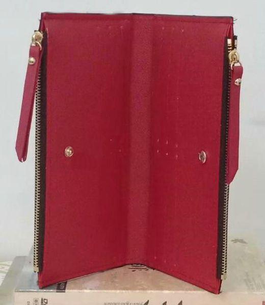 Rote lange boden dame lange brieftasche multicolor designer geldbörse Kartenhalter frauen klassische dual reißverschlüsse