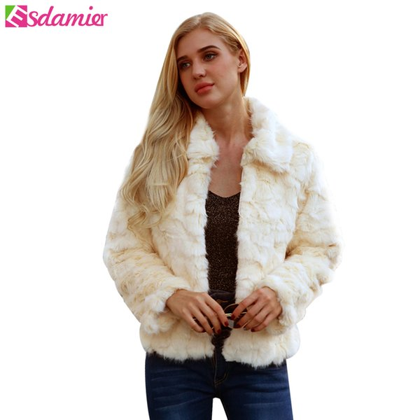 ESDAMIER Quente Faux Fur Coat Mulheres Jaqueta de Pele Falso Curto Inverno Colheita do Sexo Feminino Branco Plus Size Mulheres Casaco Sexy Outerwear