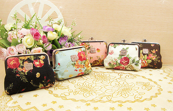 Hot sale lovely mini women and girls Vintage flower coin purse frame canvas key holder wallet hasp small Christmas gifts bag wholesale promo