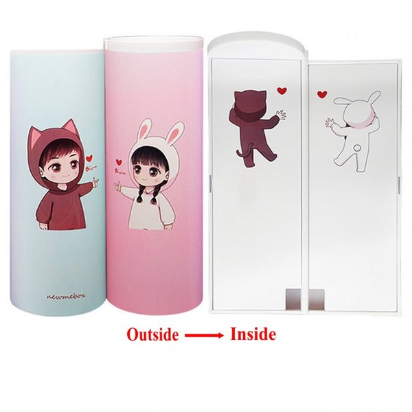 best selling 2020 Newmebox Simple Trend Creative Multifunction Cylindrical ipen &Pencil Box, Stationery Box, Pen &Pencil Holder(Cute doll pattern)