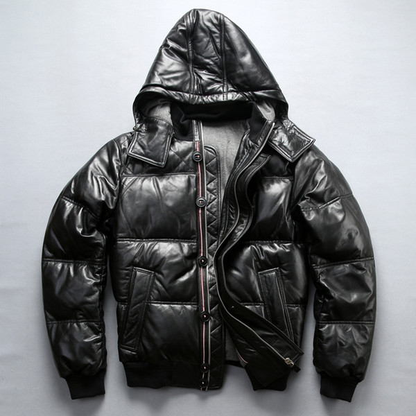 2018 Winter New Leather Down Jacket Mens Genuine Leather Detachable Hooded Thick Coat Sheepskin Down Jacket Male