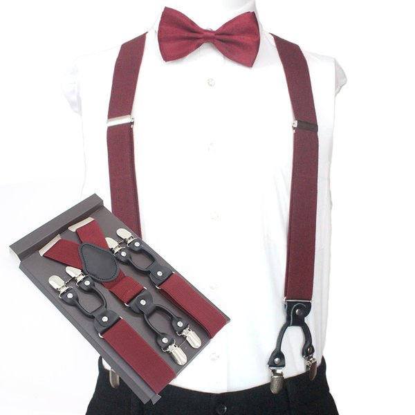 Red Adjustable Men/'s Ladies Suspenders Braces Mens 2 Piece Pre-tied Bow Tie