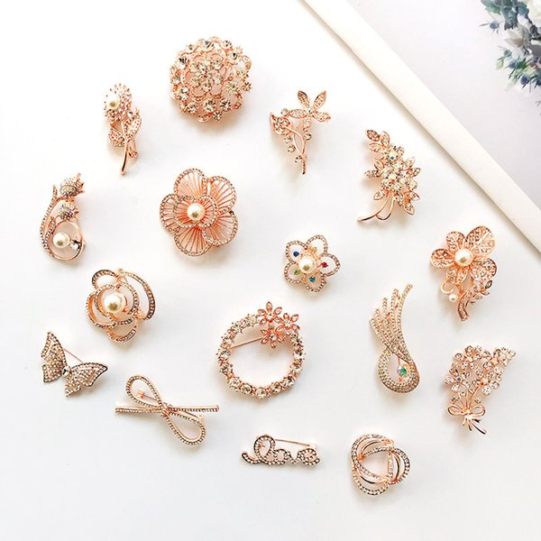 Rhinestone Crystal Flower Brooches for Women Men Wedding Bridal Party Bouquet Brooch Dress Suit Pin for Woman