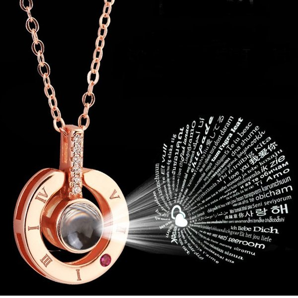 best selling 9 model Rose Gold&Silver 100 languages I love you Projection Pendant Necklace Romantic Love Memory Wedding Necklace