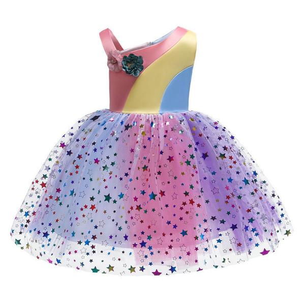 Perakende çocuk giysi tasarımcısı kızlar elbise gökkuşağı eşleştirme mesh yıldız sequins çiçek kız elbise düğün için balo prenses p ...