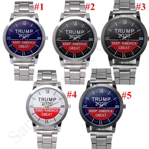 Guarda Donald Trump 2020 Orologio da polso Keep America Grande Mens quarzo Orologi da polso cinturino di metallo della fascia di lusso Orologi Retro Presidente C91707