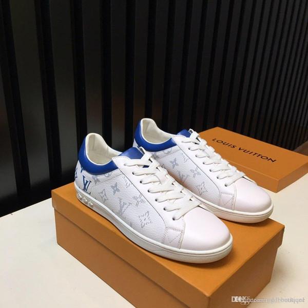 Deportes para hombre zapatos de cuero más el tamaño de la manera de Run Away zapatilla de deporte de moda para los hombres con la caja original del corredor Aire libre Chaussures verter Hommes