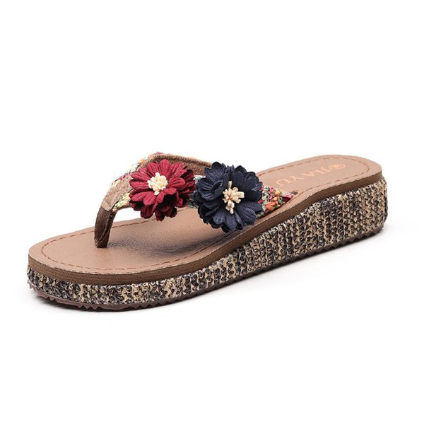 Beach shoes slippers female summer fashion wear seaside non-slip thick bottom wedges with feet sandals holiday flowers flip flops jooyoo