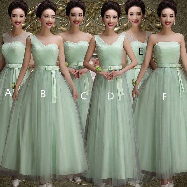 Mint Green Tulle Long Bridesmaid Dresses with Bow 2019 Floor Length Wedding Party Dress demoiselle d'honneur