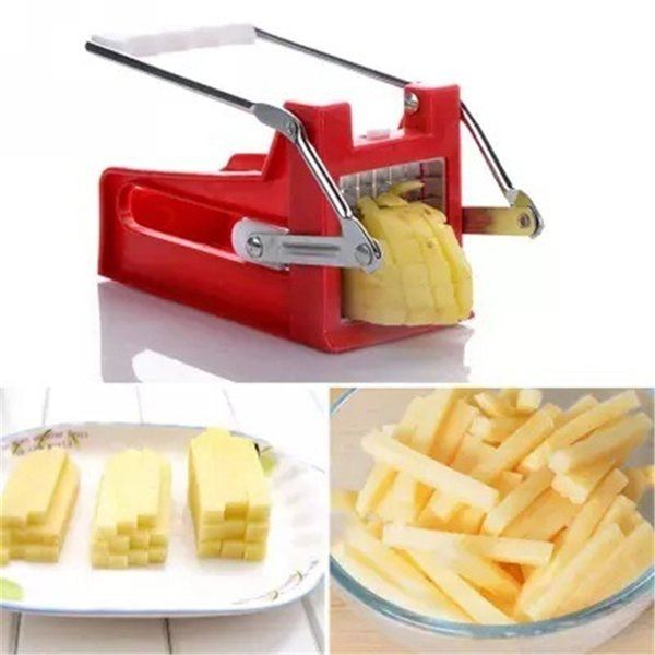 2 Styles Plastic Stainless Steel French Fry Cutters Potato Chips Strip Cutting Machine Maker Slicer Chopper Dicer W /2 kinds of Blades