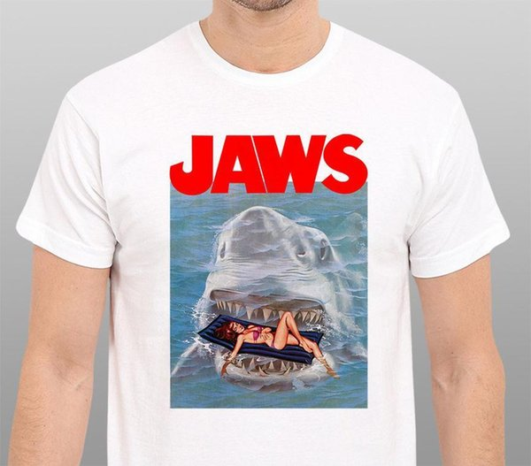 Jaws 1975 Shark Classic Movie Men's White T-Shirt Size:S-3XL T Shirt Sleeve Hipster Tees Top Tee Plus Size Printing
