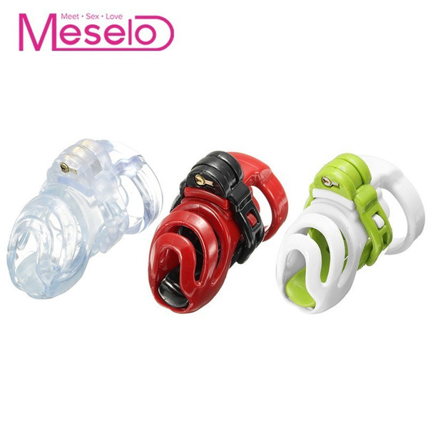 Meselo Peins Cage Male Sm Chastity Devices, Cock Lock Ring With 4 Rings Sex Toys For Men Plastic Anti-off Bondage Ring Gay Toy Y190713