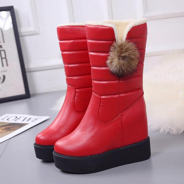 Branca metade da panturrilha Botas Sapatos de ponta redonda Botas-mulheres tamancos Platform Austrália Inverno Calçado Lace Up Botas Ladies Baixo Med Mid Cal