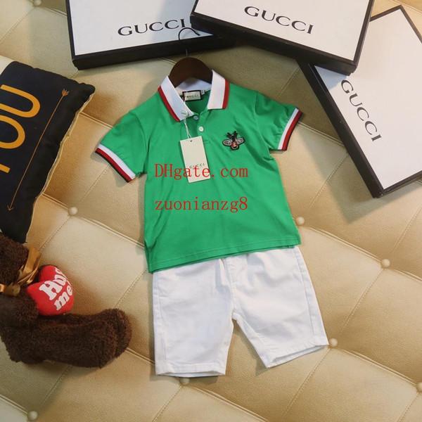 2019 ropa de diseñador para niños, chándales, traje de contraste, manga corta verde + pantalones color caramelo, 2 unids traje, bebé niño niña, ropa AB-3