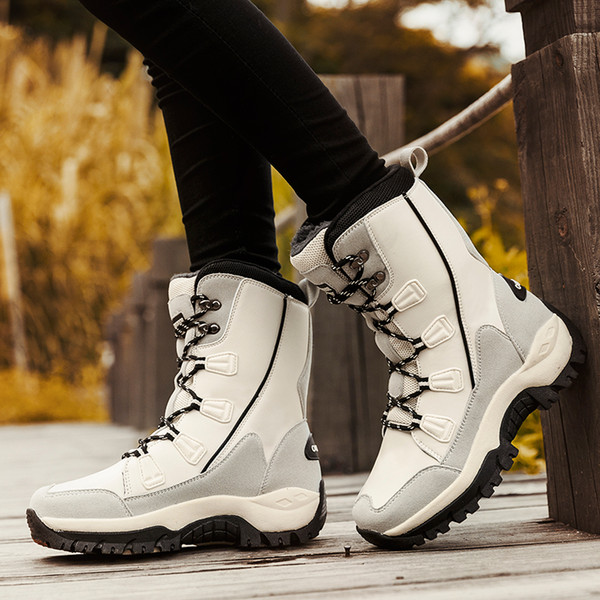 Outdoor Hiking Waterproof MidCalf Boots Fashion Microfiber Women Snow Boots Winter Warm Plush Women's boots Shoes Woman