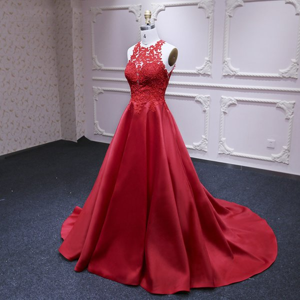 2019 elegante oscuro rojo satinado una línea de vestidos de noche personalizados Sheer Neck vestidos de baile Sweep Train Sexy Backless mujeres evento vestidos formales
