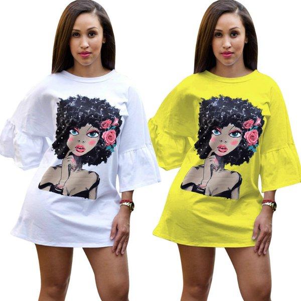 2019 Summer Puff Sleeve Impreso Dibujos Animados Chicas Mujeres Vestidos Blanco Largo Flojo Casual Camisetas Vestido Streetwear Sexy Club Party Mini Vestido