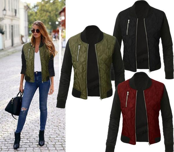 2020 Sexy Mode Herbst Frühling Frauen Freizeitjacke Frauen Schwarz Reißverschluss Damen Volle Hülse Frauen Jacken und Mäntel Größe S-3XL