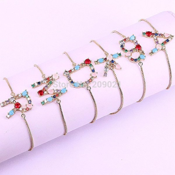New Trendy 10Pcs Micro Pave Rainbow Stone Crystal CZ 26 Alphabet Letter Initial Connector Bracelets Charms, For Women