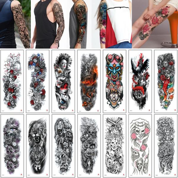 48x17cm TQB Large Big Tattoo Sticker Fish Skull Tiger Fairy Tale Woman Man Waterpfoof Temporary Full Arm Leg Sleeve Body Art Tattoos Designs