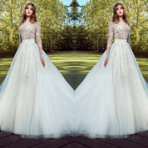 See Through zuhair murad wedding dresses white a line elegant summer Beach Bohemian wedding gowns Beaded Sheer Sleeves Best Vintage Bridal