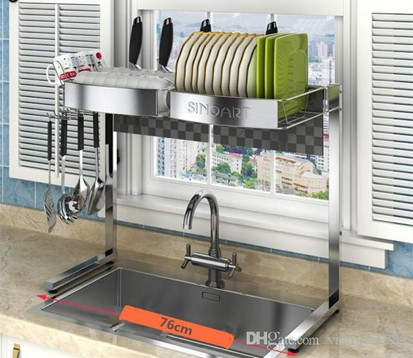 New arrive Fast shipping 304 Stainless Steel Kitchen Shelf Drainage Rack Sink Rack Bowl Dishes Chopsticks Supplies Drainage Rack