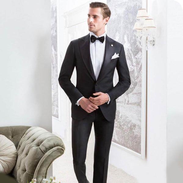 Новейшие Черные Мужские Костюмы Жених Свадебные Смокинги Широкий Пик Отворот Лучший Мужской Пиджак Из Двух Частей Terno Мужская Slim Fit Жених Куртка