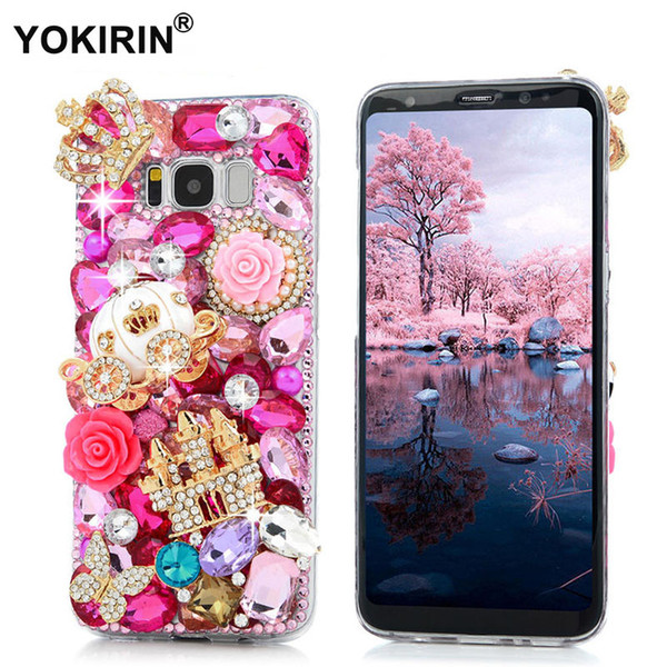 wholesale 3D Bling Diamond Capa Transparent Funda Back Cover Hard PC Rhinestone Phone Case For Samsung Galaxy S8 / S8 Plus