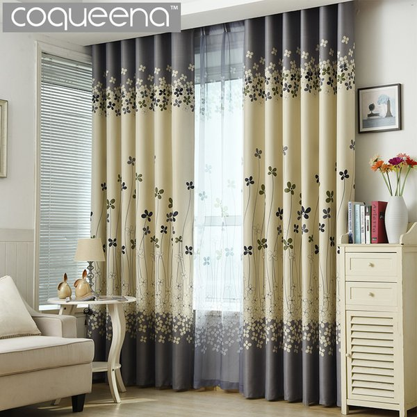 2019 Grey And Cream Floral Print Modern Blackout Curtains For Living Room  The Bedroom Home Decor Curtain Sets Drapes Window Treatment From Adeir, ...