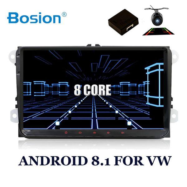 2 Din Android 8.1 Araba Ses DVD Oynatıcı GPS Radyo Için GOLF 6 Polo Bora B6 PASSAT Tiguan SKODA OCTAVIA 4G OBD DAB + isteğe bağlı