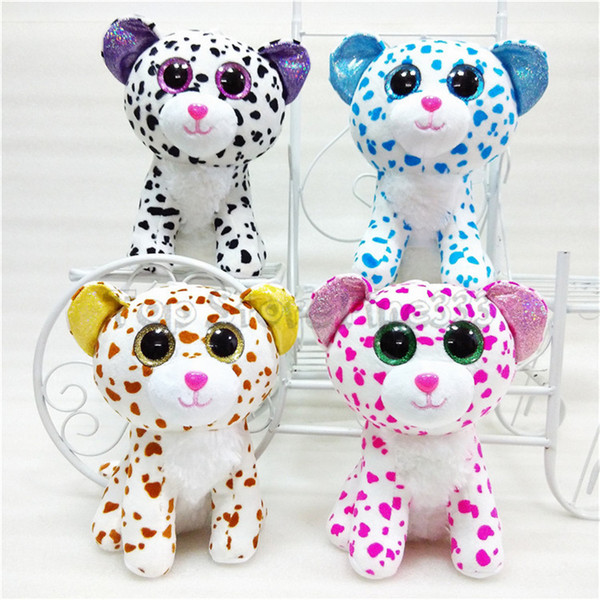 20CM Ty Beanie Boos Big Eyes Plush Toy Doll 4 Models Spots Cat TY Baby For Kids Brithday Gifts