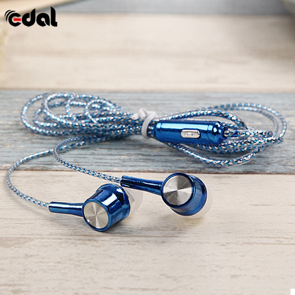3.5mm Wired Earphone Portable Fashion Stereo Headphone With Microphone For Crystal Headphones 7 Colors