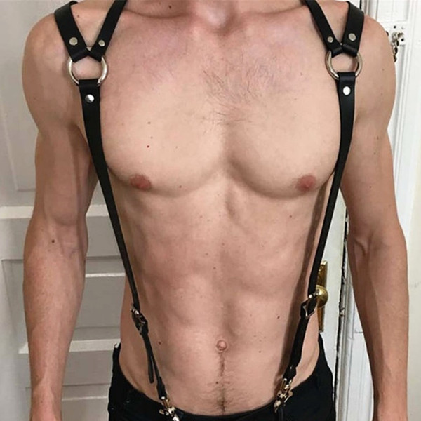 Cool PU Leather Harness Belts Men Sexy Punk Adjustable Body Chest Harness Bondage Belt Leather Suspenders Garters Body Jewelry