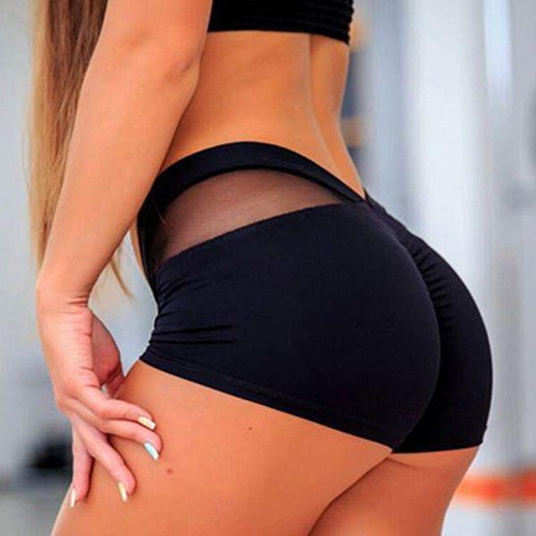 Women Sports Shorts Polyester Skinny Elastic Waist Gym Workout Waistband Skinny Short Pants 2019 Summer Korean Gift Drop Ship