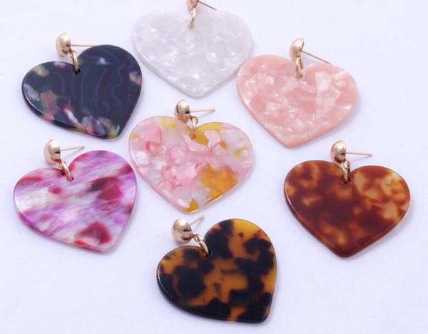 Акриловые серьги сердца леопардовый узор ацетат пластины большая любовь серьги мода темперамент серьги многоцветные Оптовая