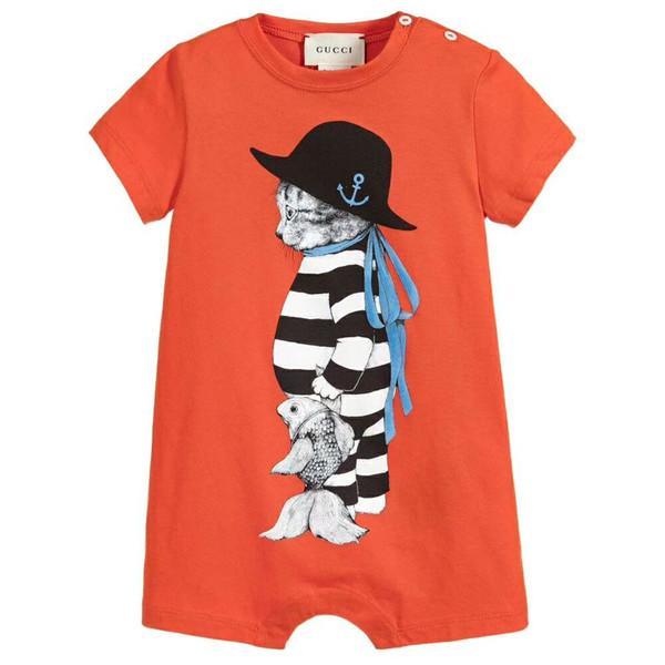 GG новорожденных мальчиков Rompe дети летняя одежда комбинезон с короткими рукавами