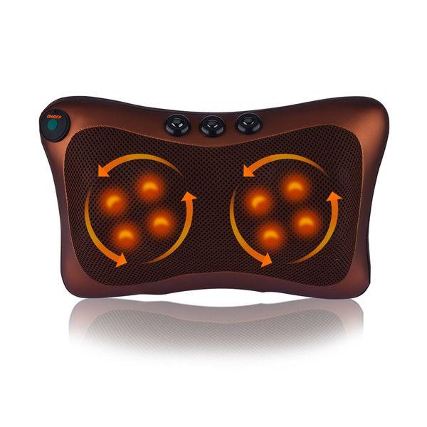 4/8 Rolos de Carro Casa Elétrica Amassar Massagem Travesseiro Cervical Ombro Para Trás Do Pescoço Lombar Massageador Pescoço Corpo Relaxar Dispositivo C18122801