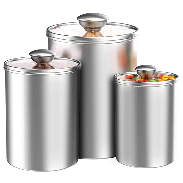 2019 Airtight Canisters Sets For The Kitchen Counter, Stainless Steel  Storage Container With Clear Glass Lids For Coffee From Sakuna, $62.45   ...