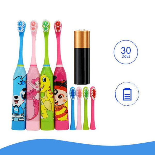 Children Electric Toothbrush Cartoon Pattern Double-sided Tooth Brush Electric Teeth Brush For Kids with 2pcs Replacement Head