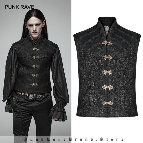 PUNK RAVE Männer Gothic Viktorianischen Jacquard Wunderschöne Stehkragen Männer Weste Männlichen Punk Mode Evenin Party Bühne Kostüm