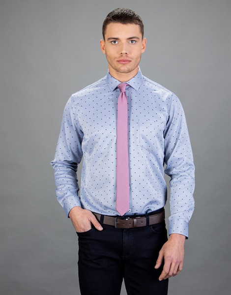 The Tudors Classic Fit Dobby Tie, Blue Men's Shirt Ship from Turkey HB-004119003