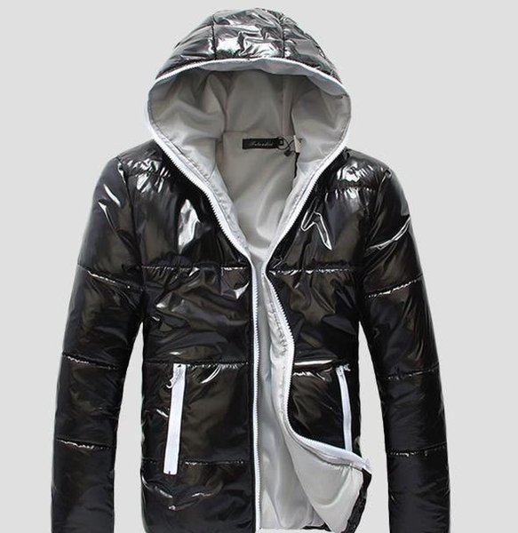 Zipper Mens Designer Jackets Fashion Shiny Mens Cotton Coats Casual Winter Warm Hooded Mens Outerwear Males Clothing