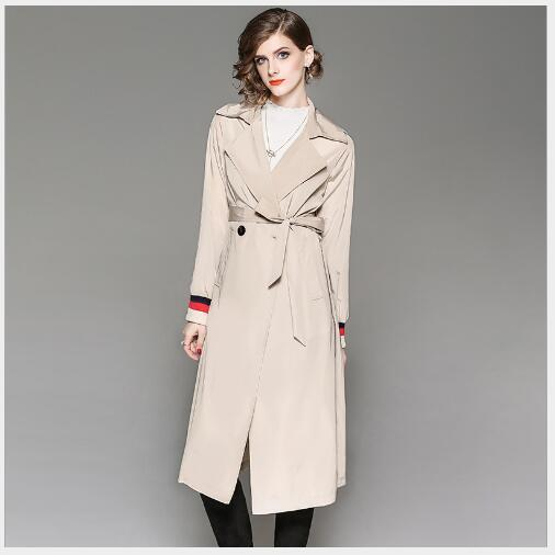 Women Trench Coat 2018 New Autumn Long Section Slim Fit Trench Female Outwear Fashion Casual Turn Down Collar Solid Overcoat
