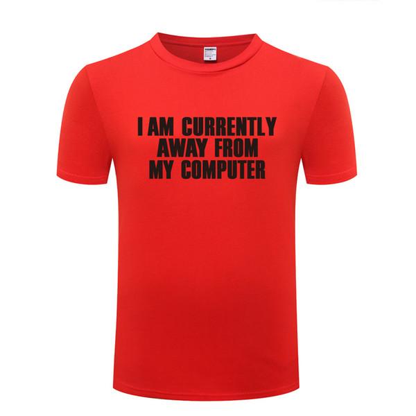 Şu Anda Bilgisayarımdan Kaçınıyorum-Geek Nerd T Gömlek Erkekler Pamuk Kısa Kollu Erkekler Kadınlar için Komik Tshirt Streetwear T-Shirt