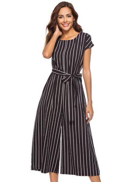 Ofis bayan çizgili baskı siyah tulum kadın o-boyun kısa kollu sashes geniş bacak pantolon trendy femme romper tulum düz
