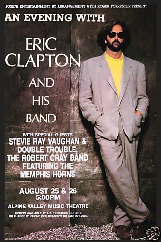 Eric Clapton & Stevie Ray Vaughan at Alpine Theatre Concert wall decor Art Silk Print Poster 93846