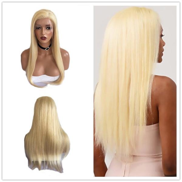 2019 Nouveau Style 613 # Blonde Sans Colle Synthétique Avant de Lacet Perruques Longues Droit Droite Main Attaché Résistant À La Chaleur Naturel Naturel Full Lace Perruques pour Femmes