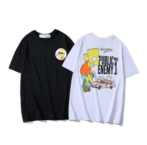 19ss For Men Hip Hop Cotton Mens OFF Clothing T-shirt Round Collar billionaire Man Tops Summer Short Sleeve black White shirt tee off